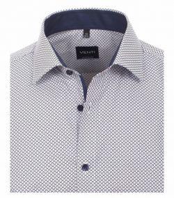 193157800-100 Overhemden-Venti-modern-fit-stippen-punten-donker-licht-blauw-wit-overhemd-100%-katoen