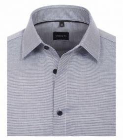 193158000-101 Overhemden-Venti-modern-fit-structuur-wit-donker-blauw-overhemd-100%-katoen-strijkvrij