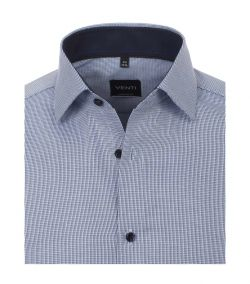 193295500-101 venti strijkvrij overhemd blauw grijs oxford 100% katoen