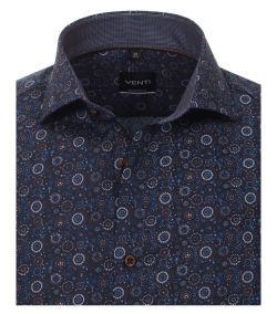 193318600-100 venti navy bruin print overhemd