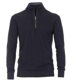 403469700-135 Casa Moda mock zip trui met korte rits en mooi gebreid structuur honingraatstructuur navy donkerblauw