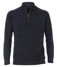 403490600-135 Casa Moda mock zip trui 100% katoen biologisch katoen met korte rits donkerblauw navy truien