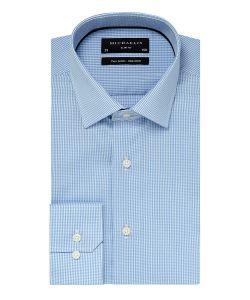 PM0H000015 Michaelis lichtblauw ruit overhemd zakelijk look business strijkvrij kent kraag enkel manchetten