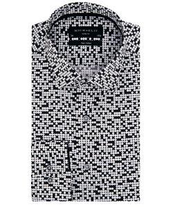 PMNH300049 domino zwart wit overhemd michaelis strijkvrij