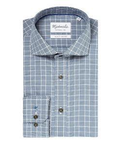 PMPH30005 michaelis grijs navy ruiten overhemd strijkvrij cutaway kraag slim fit pasvorm