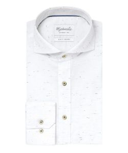 PMPH30016 Michaelis overhemd wit met streepjes grijs 100% katoen strijkvrij met cutaway kraag