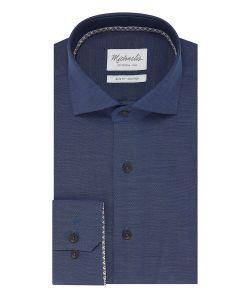 PMQH100012 michaelis blauw oxford 100% katoen overhemd strijkvrij