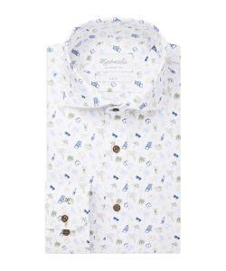 PMRH100033 Michaelis vakantie print overhemd cutaway kraag enkel manchetten 100% katoen