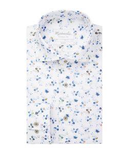 PMRH100046 Michaelis bloemen print overhemd cutaway kraag enkel manchet