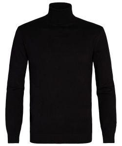 PMRJ300030 Michaelis zwart heren coltrui fijn gebreid structuur chic en luxe zwarte coltrui voor mannen