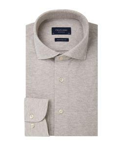 PP0H0A043 Profuomo knitted beige overhemd pique polo kwaliteit cutaway kraag enkel manchet