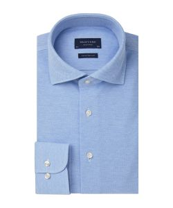 PP0H0A047 Profuomo lichtblauw knitted overhemd pique stof polo cutaway kraag enkel manchet slim fit