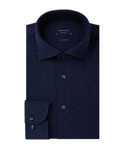 PP0H0A048 Profuomo navy knitted overhemd pique polo 100% katoen cutaway kraag enkel manchet slim fit