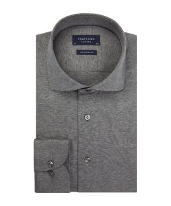 PP0H0A055 Profuomo grijs antraciet Single Jersey overhemd cutaway kraag enkel manchet slim fit