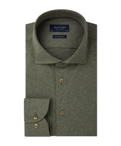 PP0H0A058 Profuomo Single Jersey army leger groen overhemd cutaway kraag enkel manchet