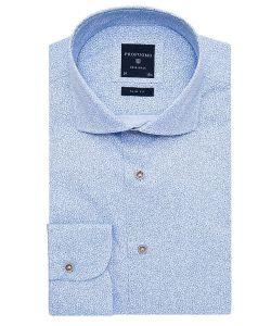 PPMH1A0072 profuomo lichtblauw bloemetjes patroon print slim fit overhemd