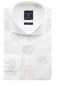 PPOH1A0051 Profuomo wit overhemd met bloemen patroon slim fit pasvorm cutaway boord