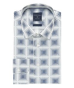 PPOH1A1046 Profuomo wit overhemd navy print kent kraag