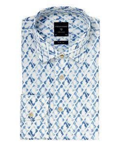 PPOH1A1053 Profuomo lichtblauw print overhemd kent kraag slimfit