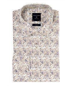 PPOH1A1059 profuomo overhemd bruin beige kleur print kent kraag slim fit pasvorm