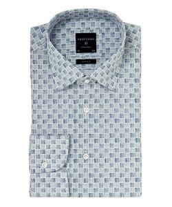 PPOH1A1085 profuomo overhemd grijs ruiten blokjes kent kraag