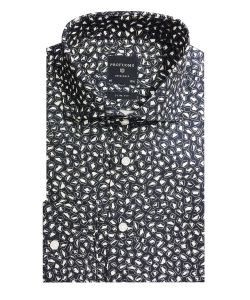 PPPH1A1025 profuomo navy print donkerblauw overhemd slim fit