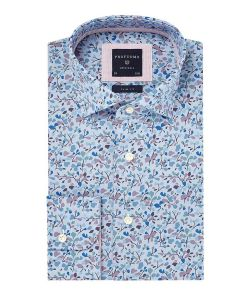 PPPH1A1087 profuomo overhemd print blauw slim fit kent kraag