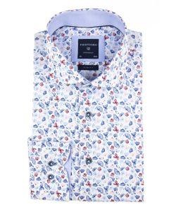 PPQH1A1055 profuomo overhemd print rood en blauw