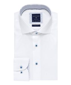 PPQH1A1074 profuomo wit overhemd strijkvrij aqua kleur knopen