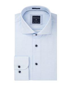 PPQH2A002 profuomo overhemd dobby lichtblauw strijkvrij