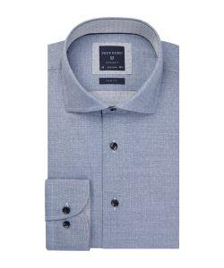 PPQH3A1046 Profuomo blauw grijs dobby strijkvrij overhemd 100% katoen cutaway kraag