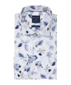 PPQH3A1064 profuomo overhemd blauw print bladeren Italiaanse weverij Leggiuno