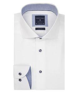 PPQH3A1095 profuomo wit twill overhemd strijkvrij cutaway kraag slim fit
