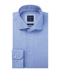 PPQH4A0002 profuomo blauw overhemd dobby strijkvrij