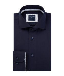 PPQH4A0004 Profuomo navy twill donkerblauw overhemd strijkvrij cutaway kraag