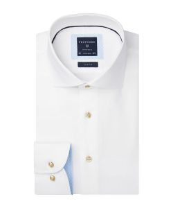PPRH1A0004 Profuomo overhemd wit dobby strijkvrij