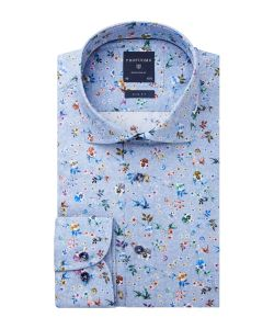 PPRH1A0032 Profuomo blauw print italiaase overhemd uit leggiuno weverij bloemenprint