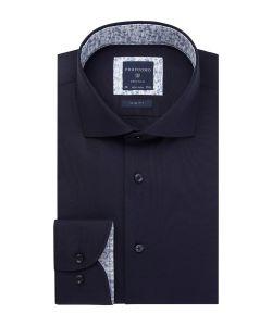 PPRH1A1002 Profuomo navy twill overhemd 100% katoen cutaway kraag en strijkvrij