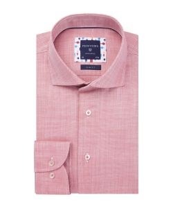 PPRH1A1009 profuomo zacht rood roze overhemd oxford dobby structuur strijkvrij