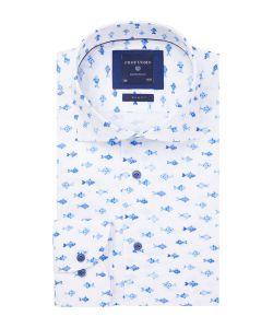 PPRH1A1055 Profuomo visjes print overhemd linnen look overhemd 100% katoen
