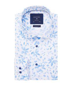 PPRH1A1056 Profuomo lichtblauw bloemen print overhemd uit Italië Liggiuno linnen look cutaway kraag