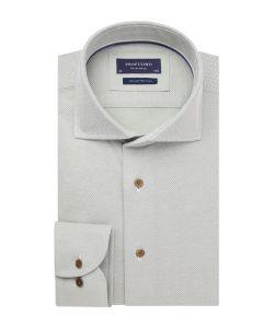 PPRH1A1064 Profuomo lichtgroen knitted overhemd cutaway kraag slim fit pasvorm