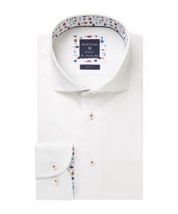PPRH1A1088 Profuomo italiaanse wit overhemd strijkvrij rood cutaway kraag enkel manchet rode accenten