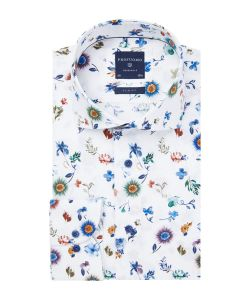 PPRH1A1093 Profuomo wit print overhemd meerkleurig Italiaanse Liggiuno weverij stof cutaway kraag enkel manchet