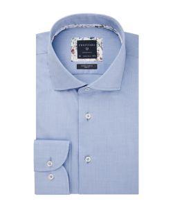 PPRH3A1003 Profuomo lichtblauw twill overhemd 100% katoen met natuurlijke stretch cutaway kraag en enkel manchet