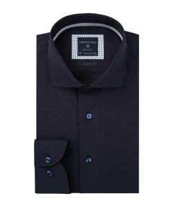 PPRH3A1017 Profuomo navy fijne twill donker blauw overhemd cutaway kraag enkele manchetten
