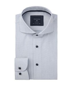 PPRH3A1020 Profuomo wit blauw dobby overhemd extreme cutaway collar natural stretch katoen