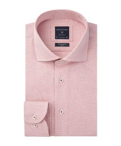 PPRH3A1029 Profuomo rood roze dobby overhemd natural stretch strijkvrij cutaway kraag enkel manchet