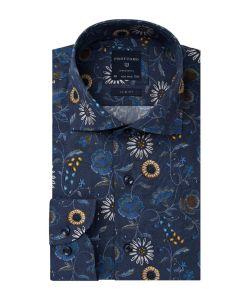PPRH3A1040 Profuomo bloemetjes print overhemd Italiaanse Leggiuno stof cutaway kraag enkel manchetten slim fit pasvorm