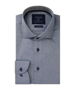 PPRH4A0001 Profuomo navy dobby structuur overhemd strijkvrij cutaway kraag enkel manchetten oxford weving
